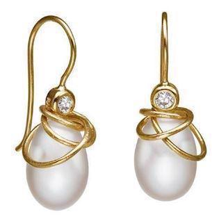 Rabinivich 32520401, Gold platted earrings with pearls